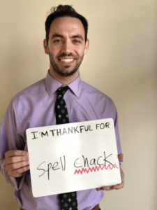 Andrew Gordon: I'm thankful for spell check