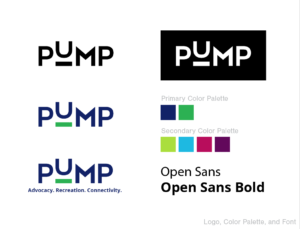 PUMP brand colors and fonts