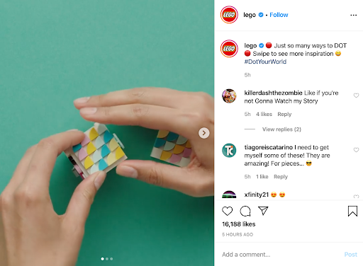 How-to information example of content marketing - Lego Instagram Profile